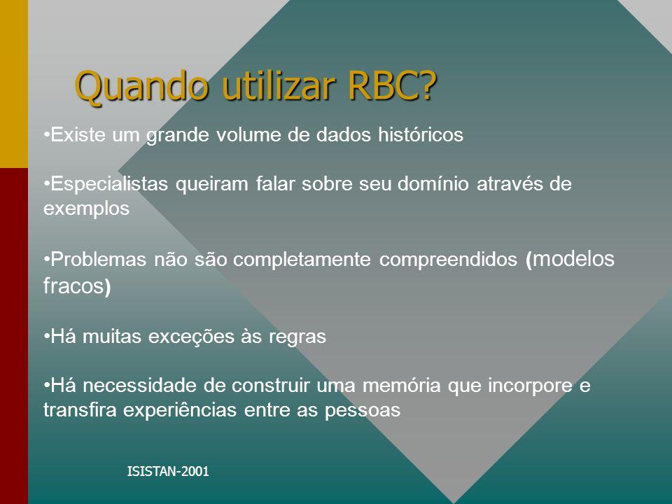 Quando utilizar RBC Existe um grande volume de dados históricos