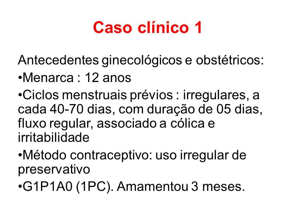 Caso clínico 1 Antecedentes ginecológicos e obstétricos:
