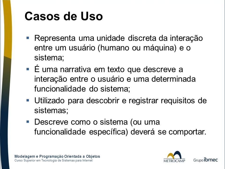 Casos de Uso Representa uma unidade discreta da interação entre um usuário (humano ou máquina) e o sistema;