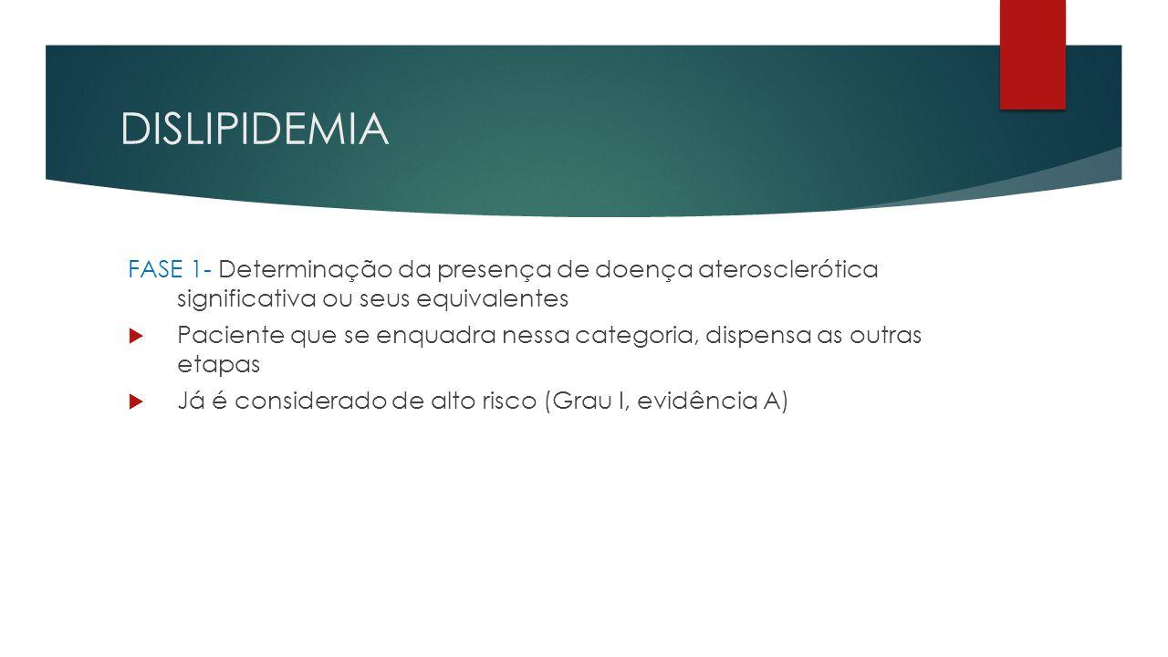 DISLIPIDEMIA FASE 1- Determinação da presença de doença aterosclerótica significativa ou seus equivalentes.