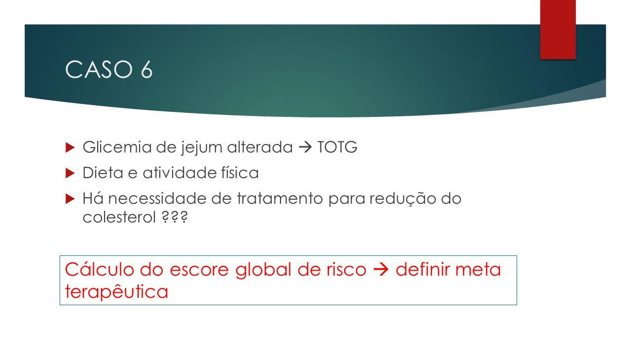 CASO 6 Cálculo do escore global de risco  definir meta terapêutica