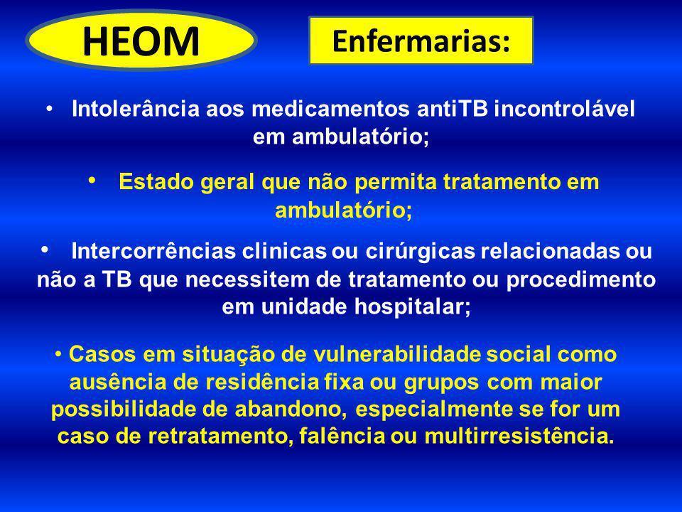 HEOM Enfermarias: Intolerância aos medicamentos antiTB incontrolável em ambulatório; Estado geral que não permita tratamento em ambulatório;