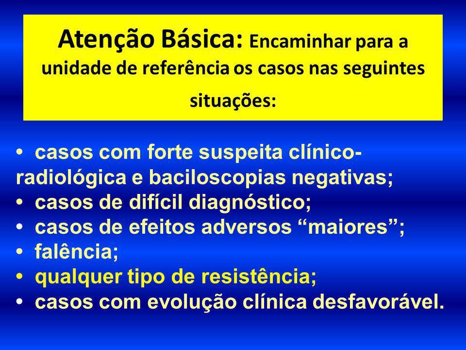 Atenção Básica: Encaminhar para a unidade de referência os casos nas seguintes situações:
