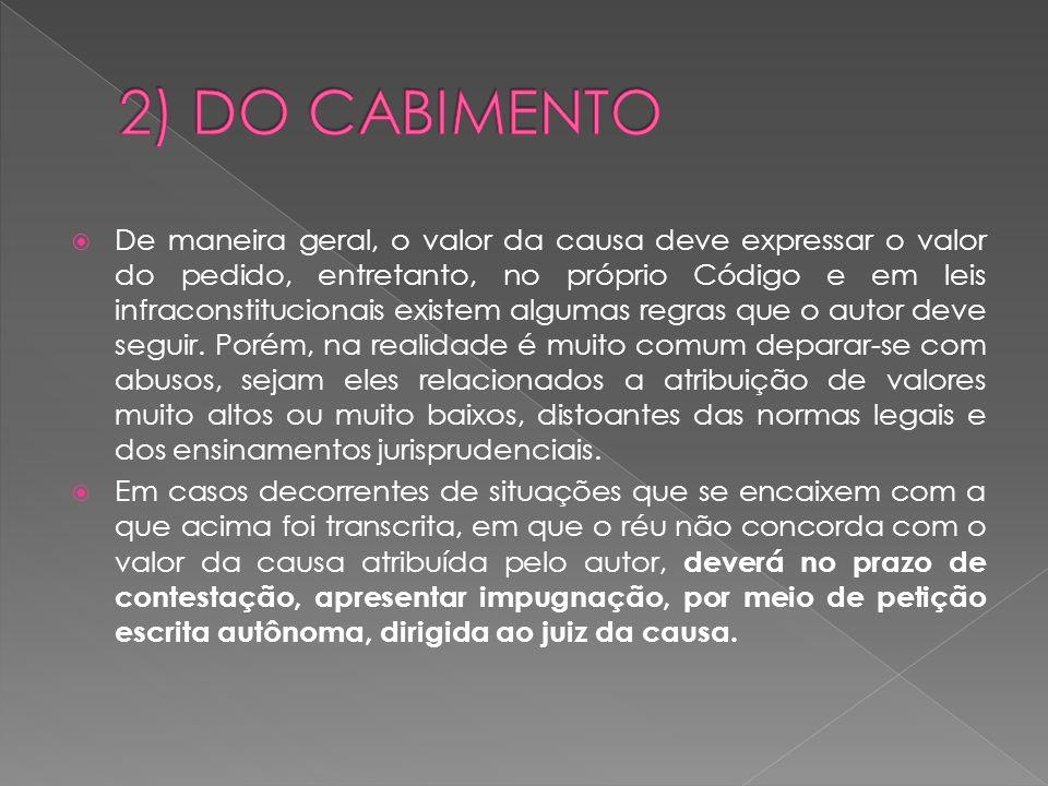 2) DO CABIMENTO