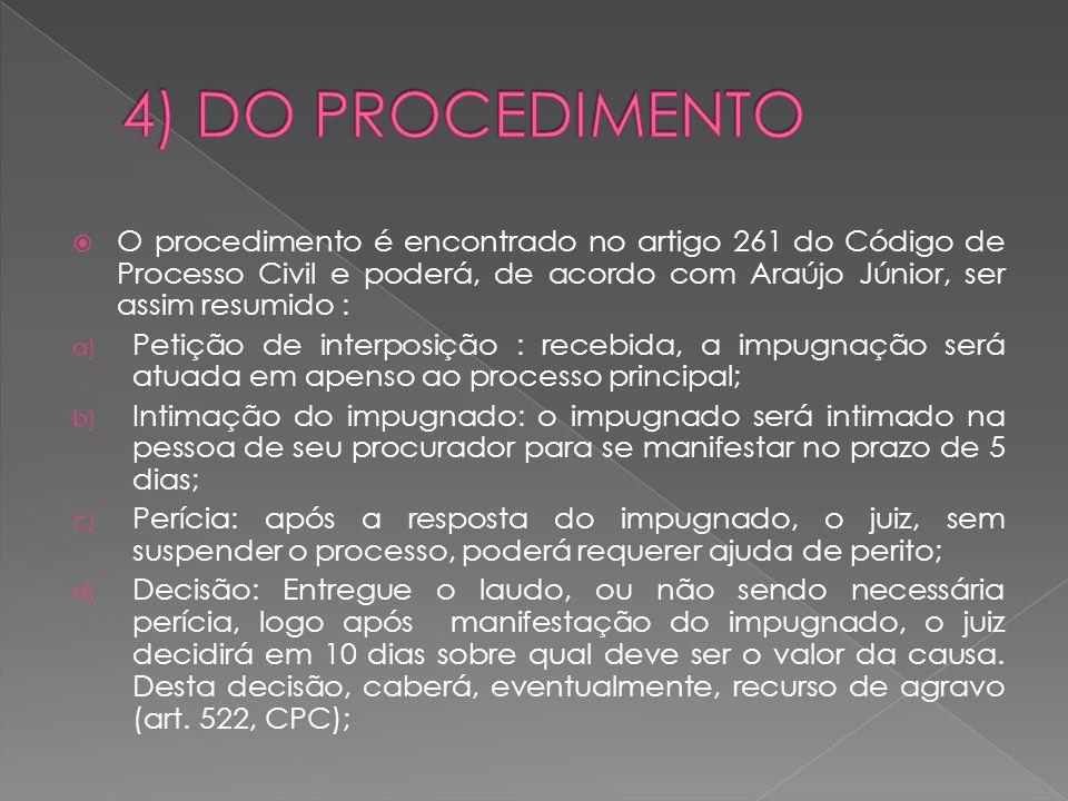 4) DO PROCEDIMENTO O procedimento é encontrado no artigo 261 do Código de Processo Civil e poderá, de acordo com Araújo Júnior, ser assim resumido :
