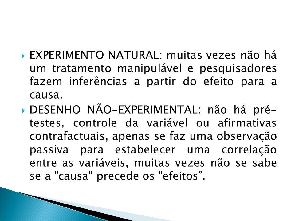 EXPERIMENTO NATURAL: muitas vezes não há um tratamento manipulável e pesquisadores fazem inferências a partir do efeito para a causa.