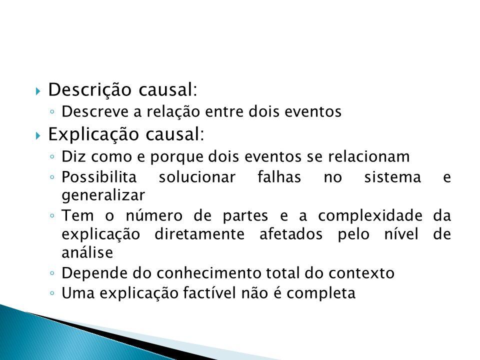 Descrição causal: Explicação causal: