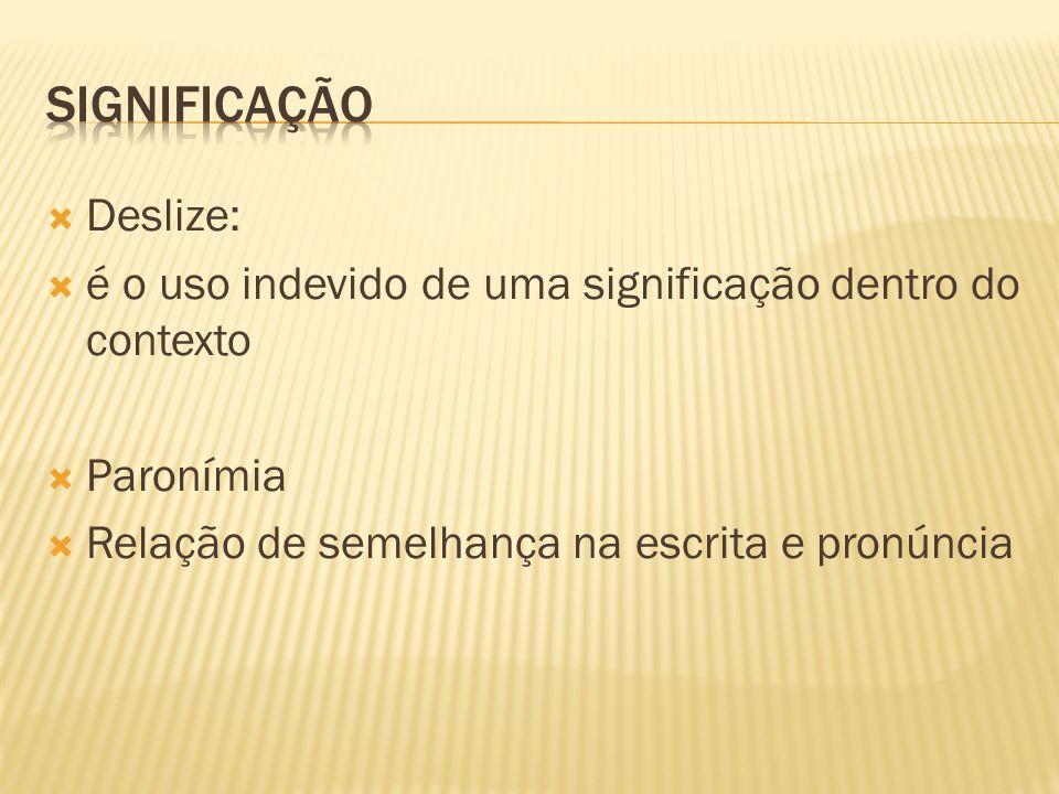 SIGNIFICAÇÃO Deslize: