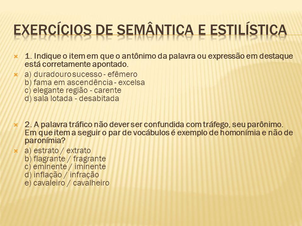 Exercícios DE SEMÂNTICA e Estilística