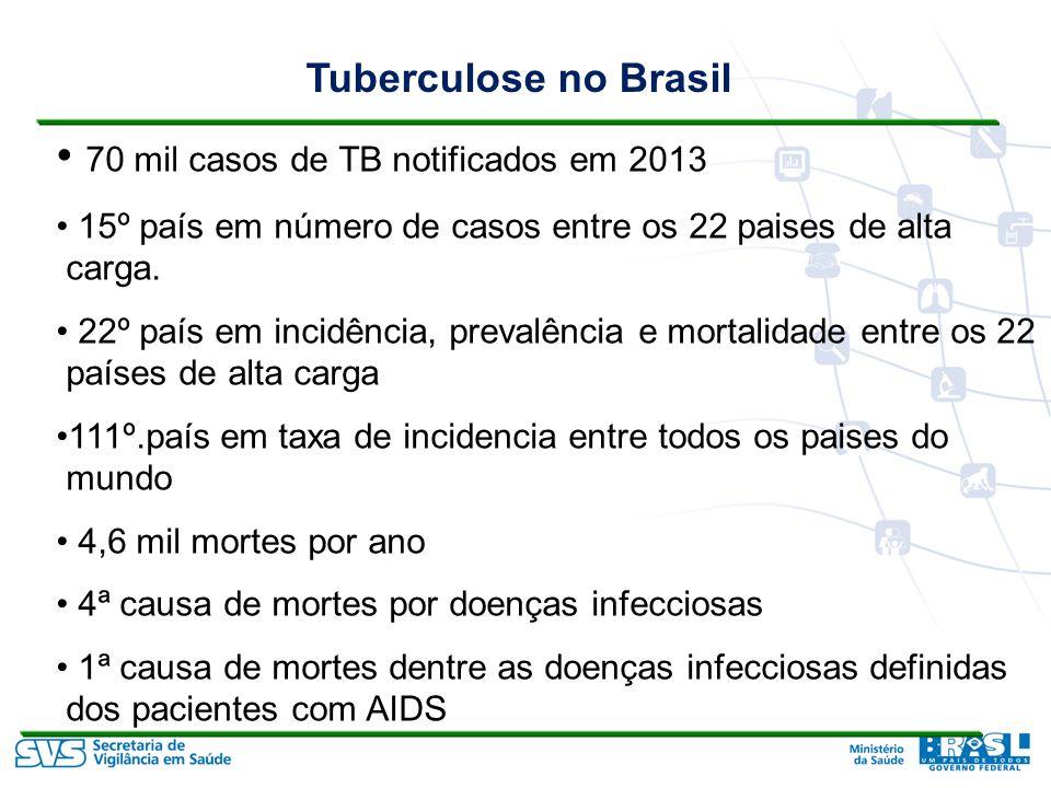 70 mil casos de TB notificados em 2013