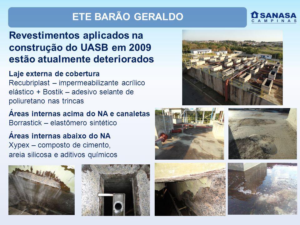 ETE BARÃO GERALDO Revestimentos aplicados na construção do UASB em 2009 estão atualmente deteriorados.