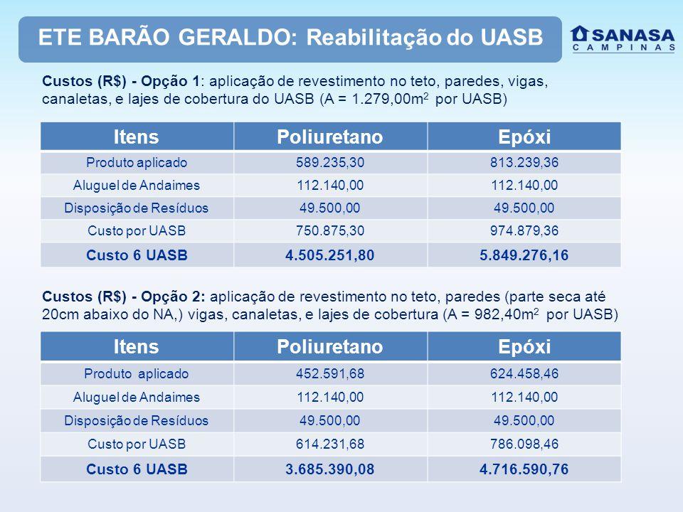 ETE BARÃO GERALDO: Reabilitação do UASB