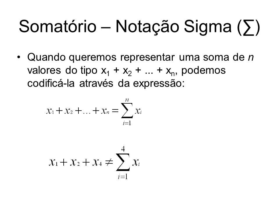 Somatório – Notação Sigma (∑)