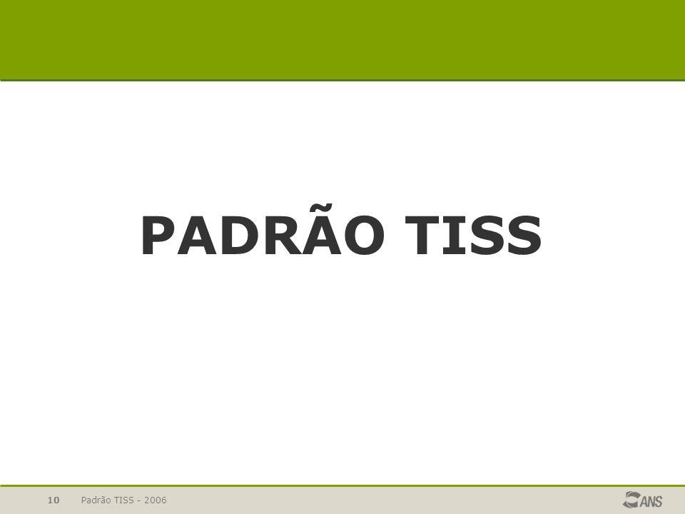 PADRÃO TISS Padrão TISS - 2006