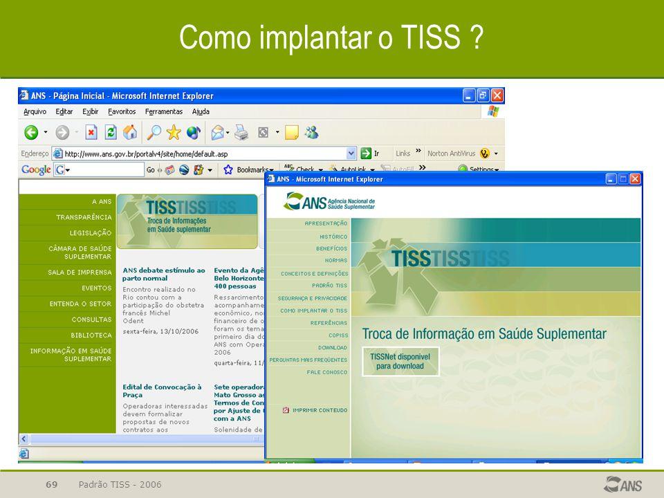 Como implantar o TISS Padrão TISS - 2006