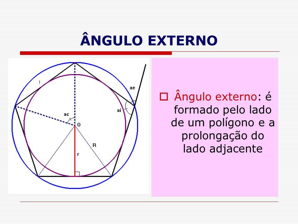 ÂNGULO EXTERNO Ângulo externo: é formado pelo lado de um polígono e a prolongação do lado adjacente
