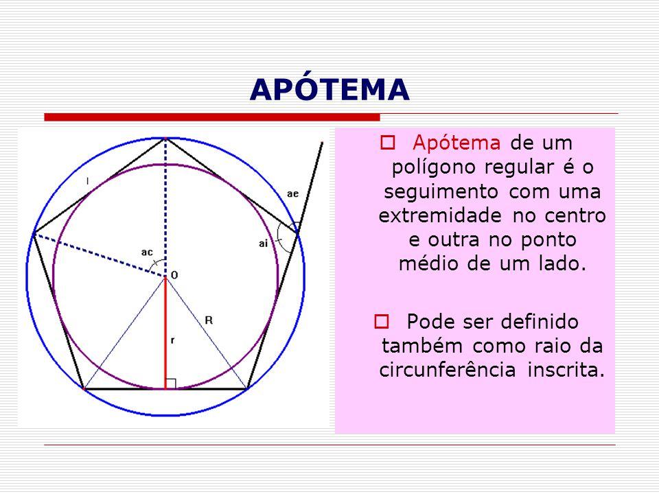 Pode ser definido também como raio da circunferência inscrita.
