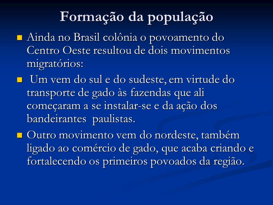 Formação da população Ainda no Brasil colônia o povoamento do Centro Oeste resultou de dois movimentos migratórios: