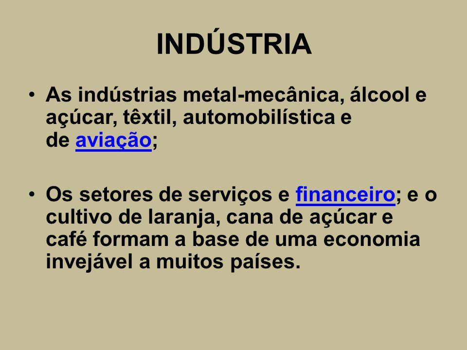 INDÚSTRIA As indústrias metal-mecânica, álcool e açúcar, têxtil, automobilística e de aviação;