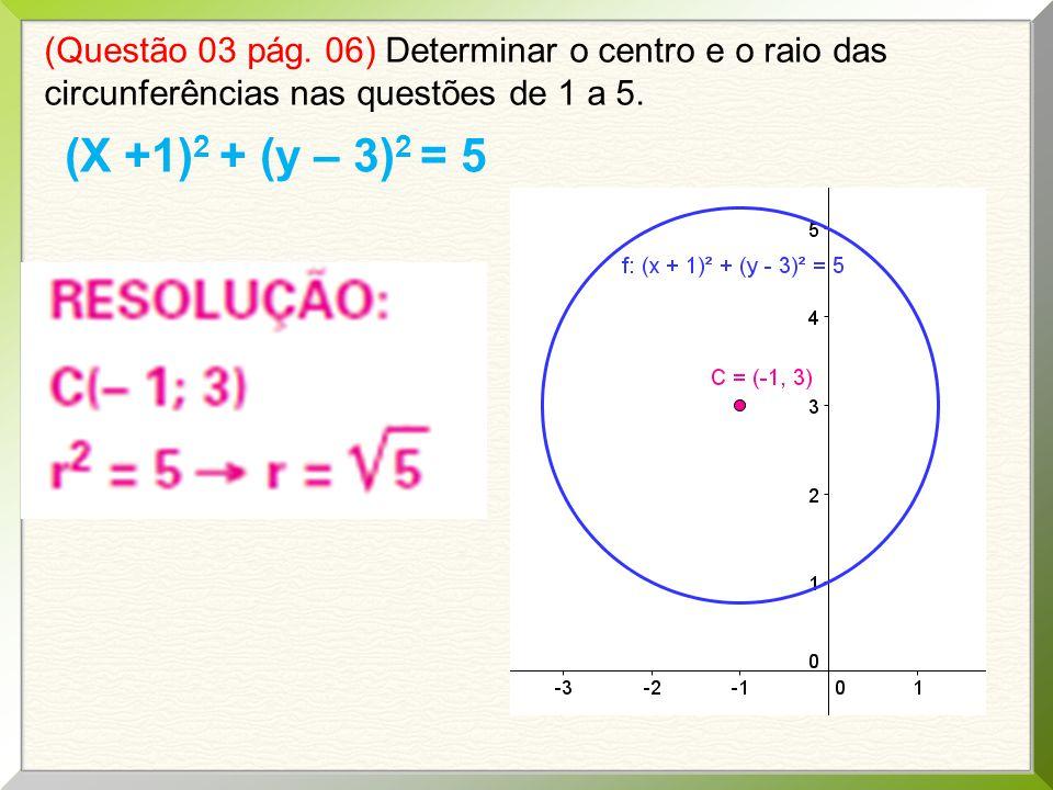 (Questão 03 pág. 06) Determinar o centro e o raio das circunferências nas questões de 1 a 5.