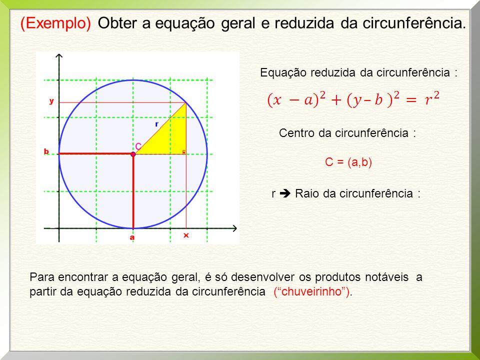 (Exemplo) Obter a equação geral e reduzida da circunferência.