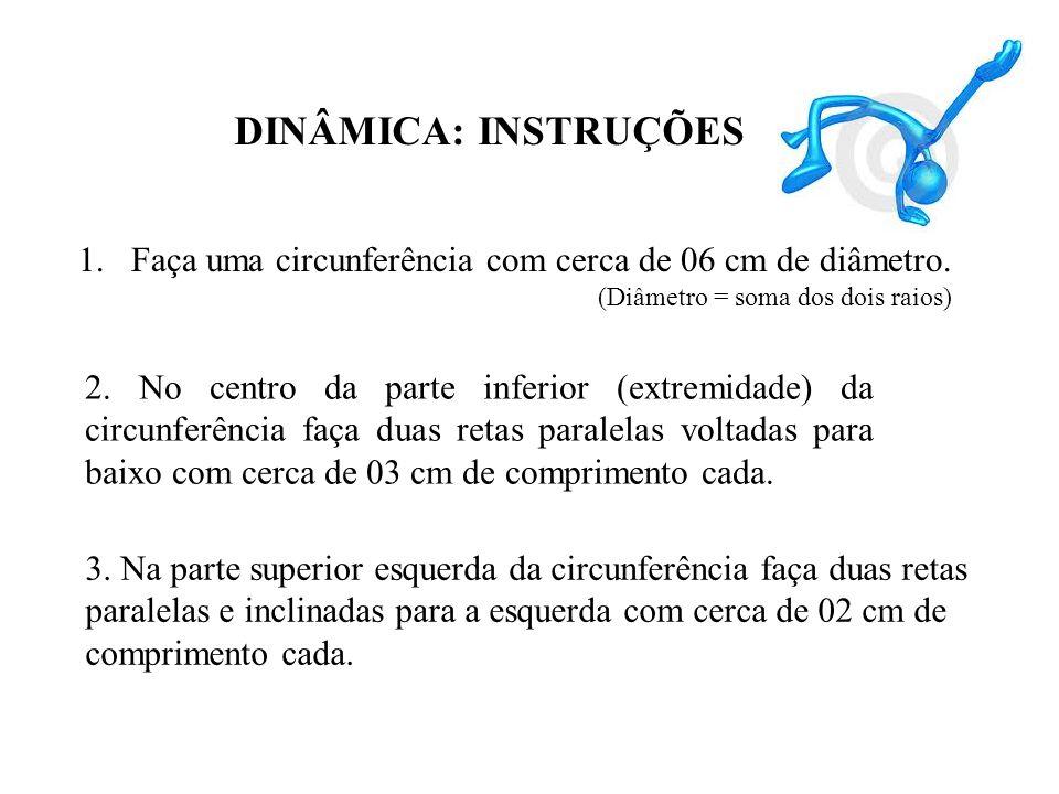 DINÂMICA: INSTRUÇÕES Faça uma circunferência com cerca de 06 cm de diâmetro. (Diâmetro = soma dos dois raios)