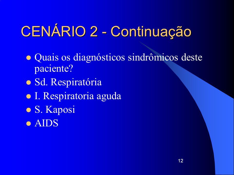 CENÁRIO 2 - Continuação Quais os diagnósticos sindrômicos deste paciente Sd. Respiratória. I. Respiratoria aguda.