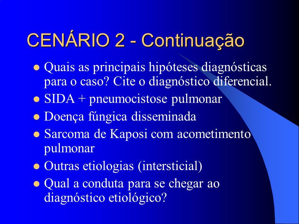 CENÁRIO 2 - Continuação Quais as principais hipóteses diagnósticas para o caso Cite o diagnóstico diferencial.