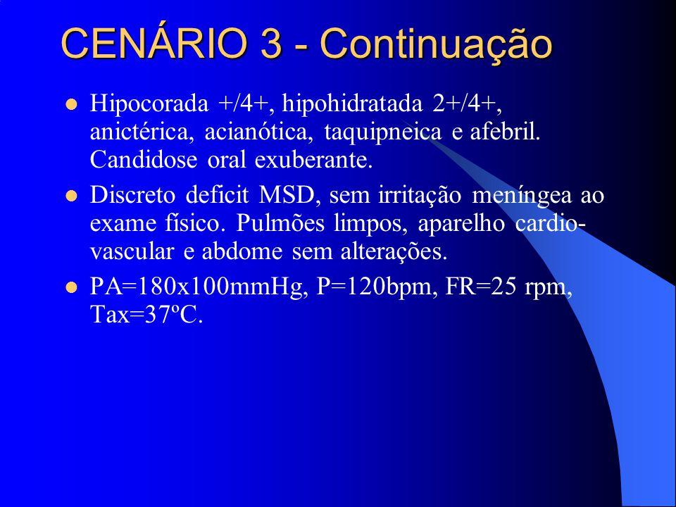 CENÁRIO 3 - Continuação Hipocorada +/4+, hipohidratada 2+/4+, anictérica, acianótica, taquipneica e afebril. Candidose oral exuberante.