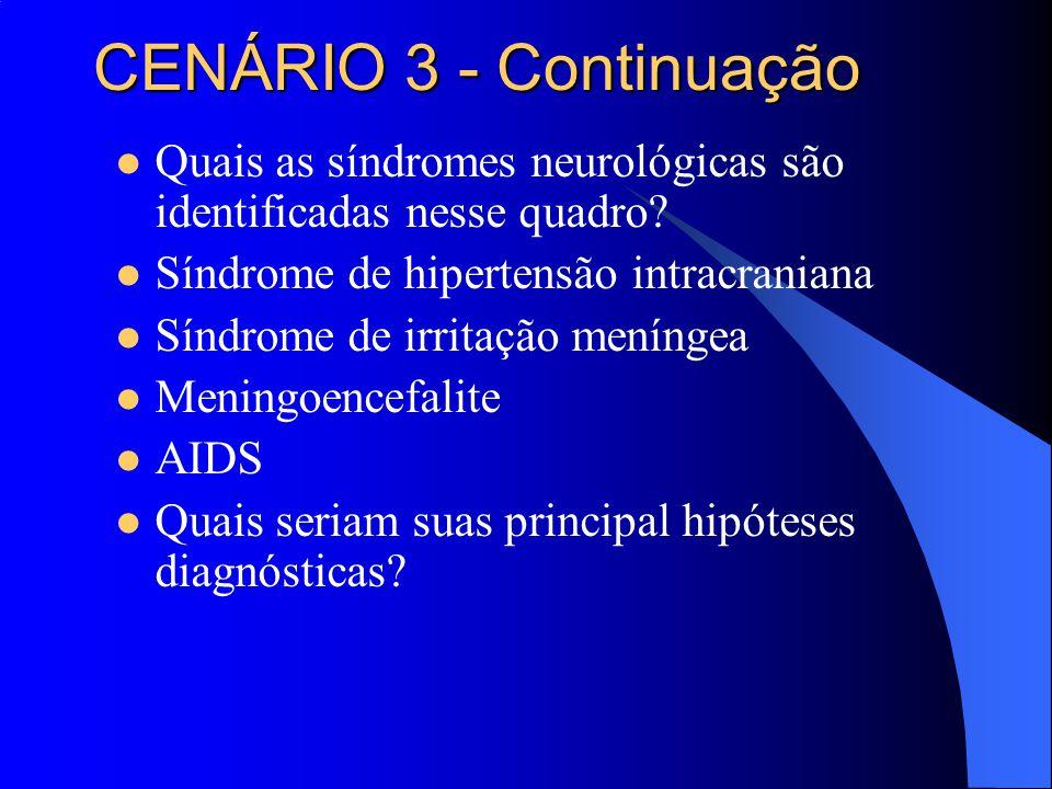 CENÁRIO 3 - Continuação Quais as síndromes neurológicas são identificadas nesse quadro Síndrome de hipertensão intracraniana.
