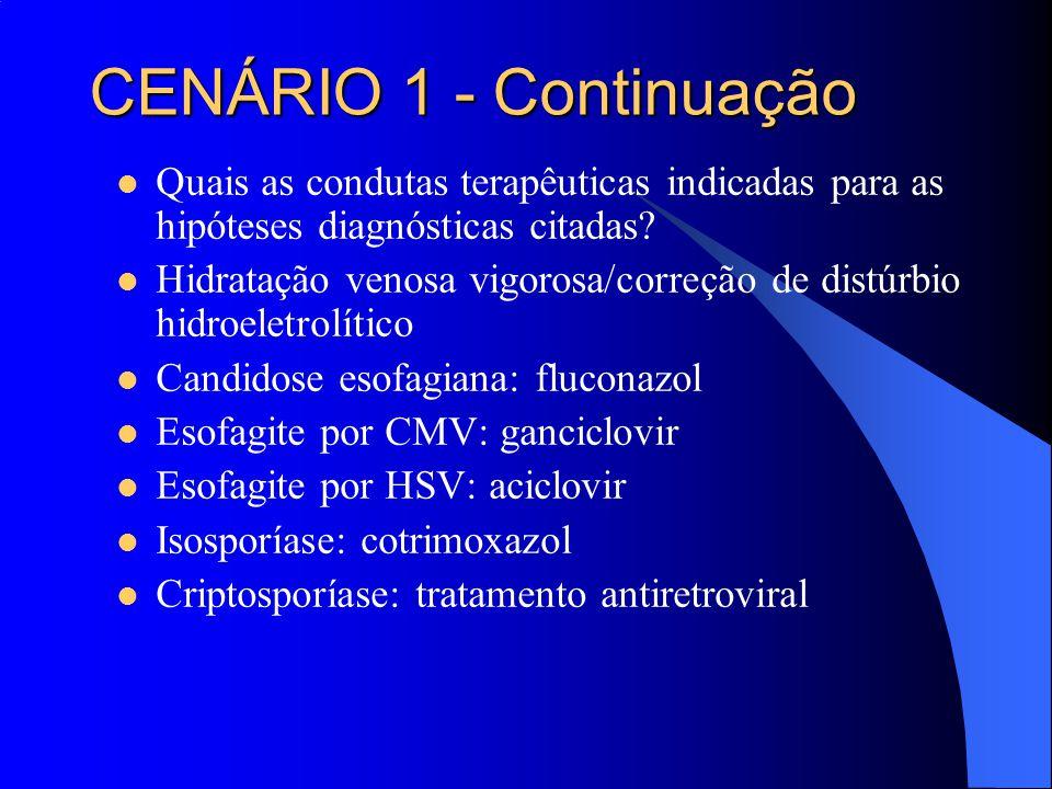 CENÁRIO 1 - Continuação Quais as condutas terapêuticas indicadas para as hipóteses diagnósticas citadas