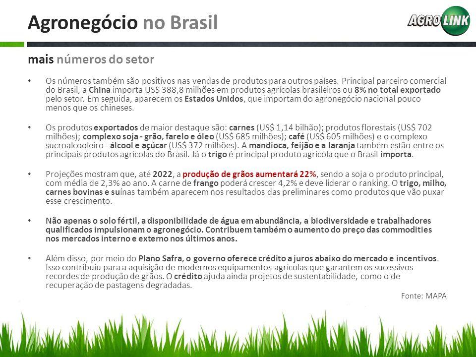 Agronegócio no Brasil mais números do setor