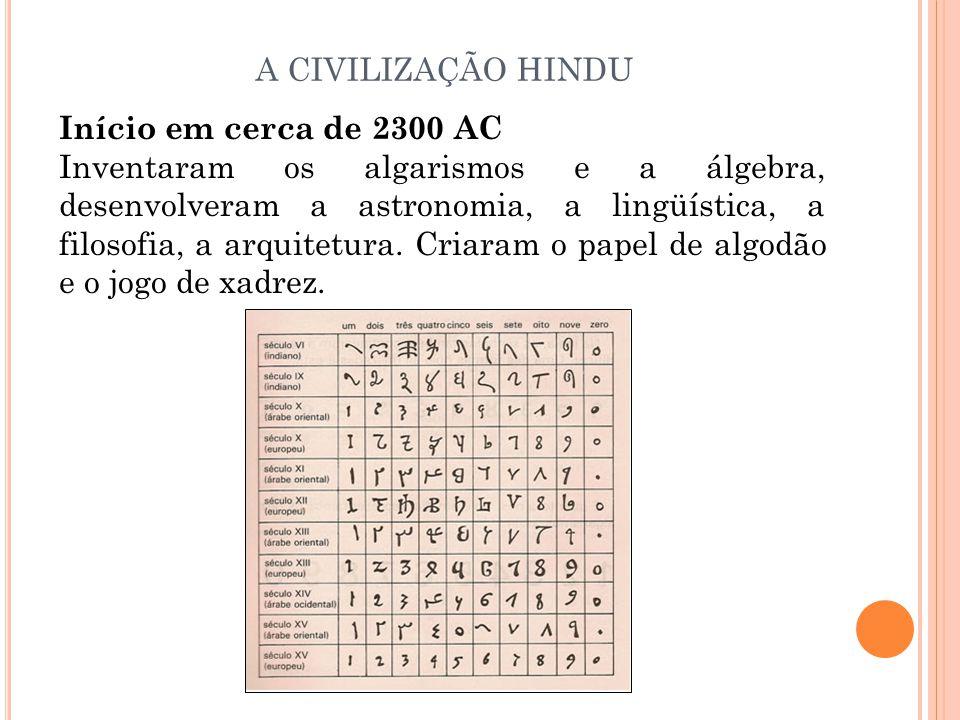A CIVILIZAÇÃO HINDU Início em cerca de 2300 AC.