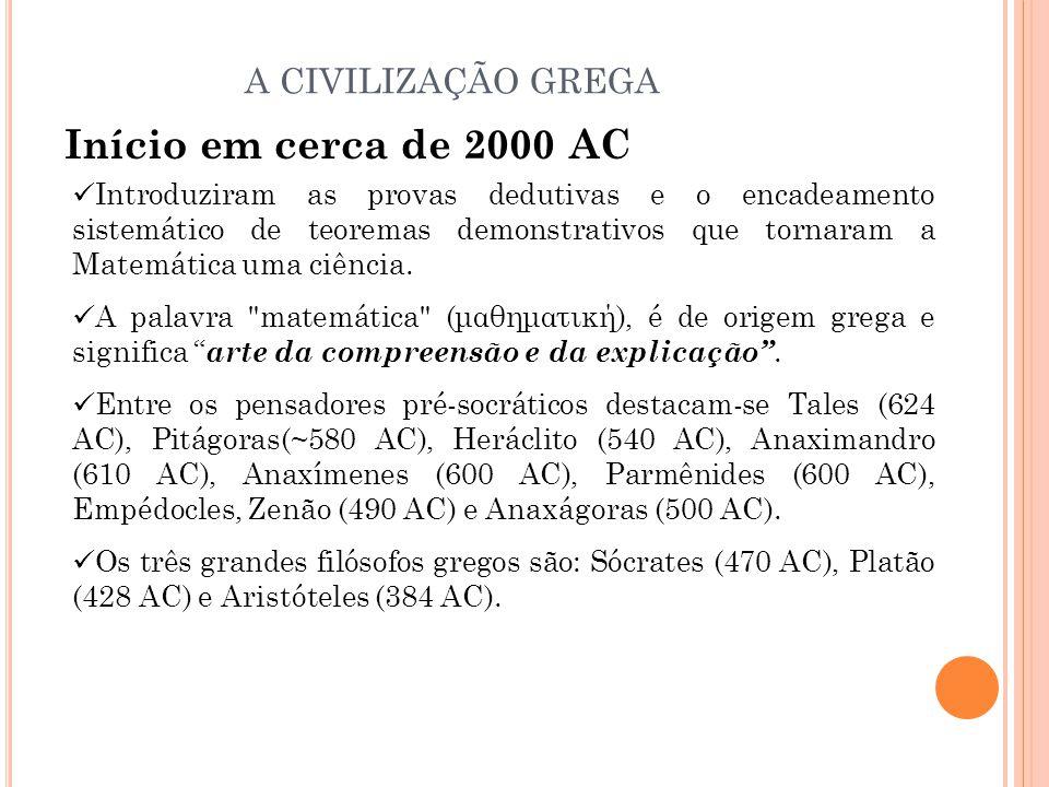 Início em cerca de 2000 AC A CIVILIZAÇÃO GREGA