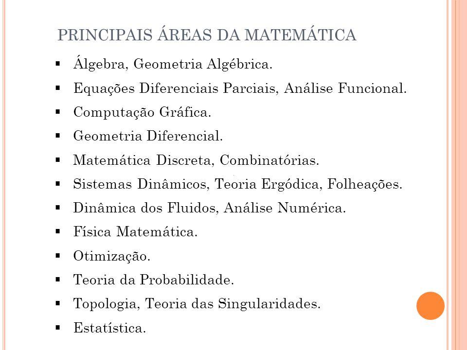 PRINCIPAIS ÁREAS DA MATEMÁTICA