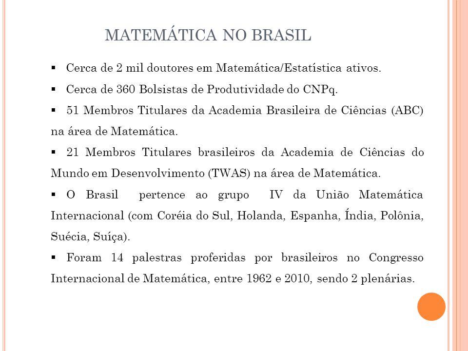 MATEMÁTICA NO BRASIL Cerca de 2 mil doutores em Matemática/Estatística ativos. Cerca de 360 Bolsistas de Produtividade do CNPq.