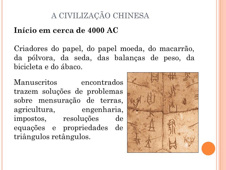 A CIVILIZAÇÃO CHINESA Início em cerca de 4000 AC.
