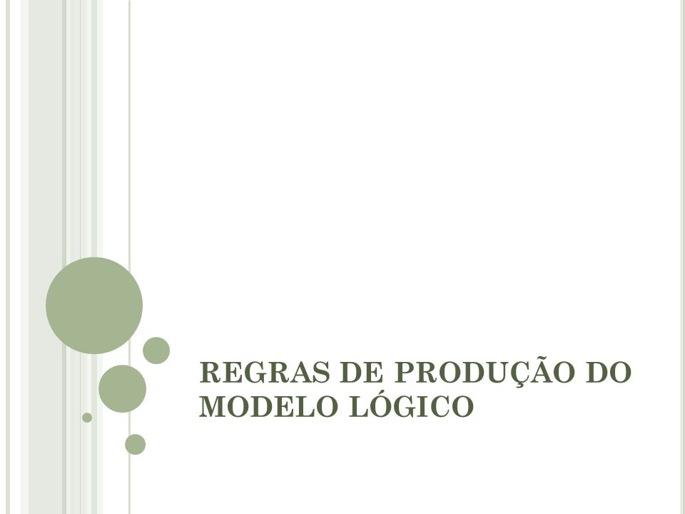 REGRAS DE PRODUÇÃO DO MODELO LÓGICO
