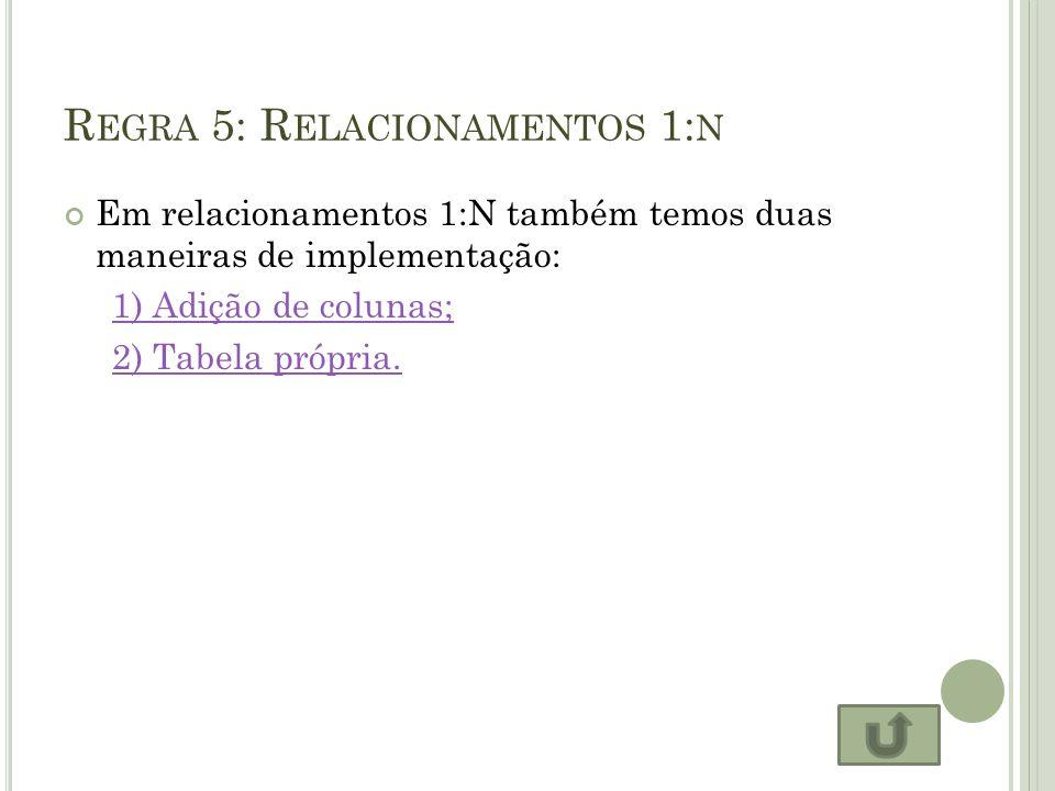 Regra 5: Relacionamentos 1:n