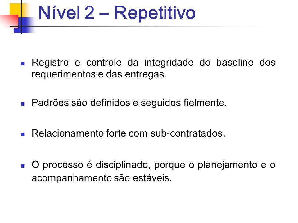 Nível 2 – Repetitivo Registro e controle da integridade do baseline dos requerimentos e das entregas.