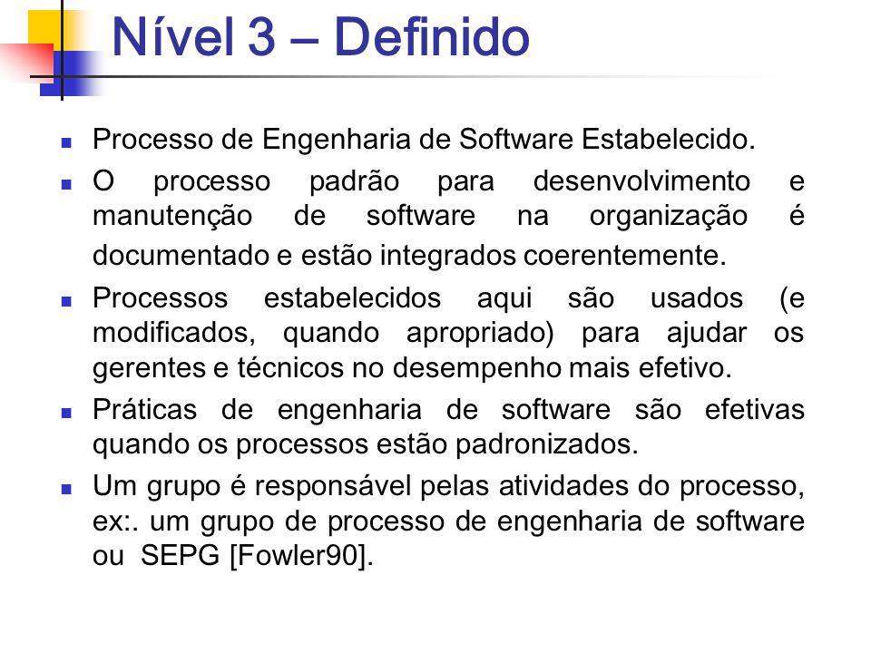 Nível 3 – Definido Processo de Engenharia de Software Estabelecido.