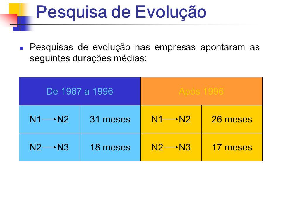 Pesquisa de Evolução Pesquisas de evolução nas empresas apontaram as seguintes durações médias: De 1987 a 1996.