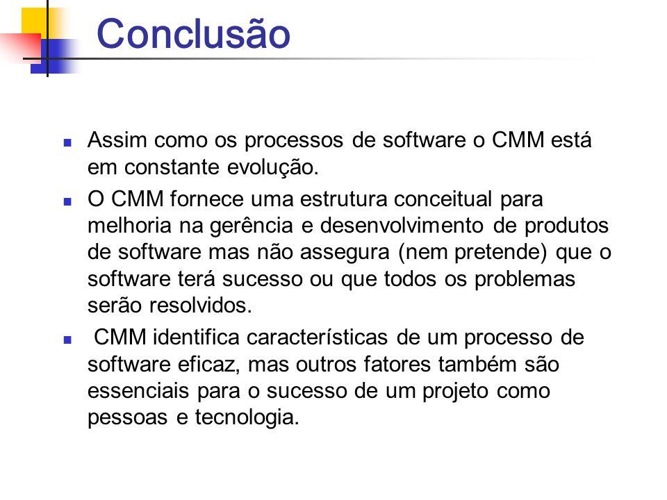 Conclusão Assim como os processos de software o CMM está em constante evolução.