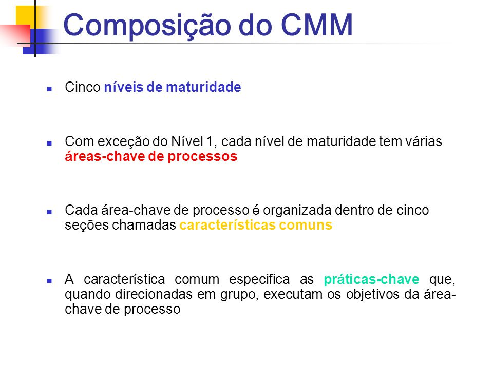 Composição do CMM Cinco níveis de maturidade