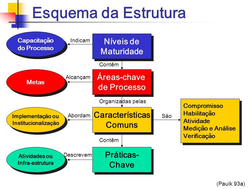 Esquema da Estrutura Níveis de Maturidade Áreas-chave de Processo