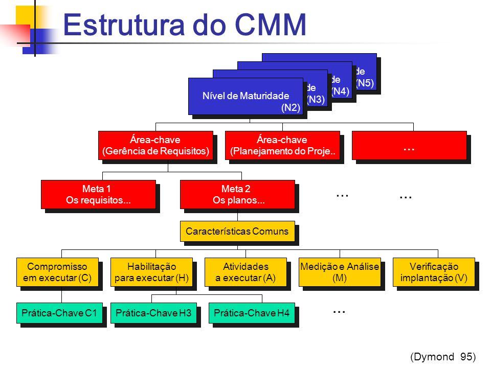 Estrutura do CMM ... ... ... ... (Dymond 95) Níveis de Maturidade (N5)
