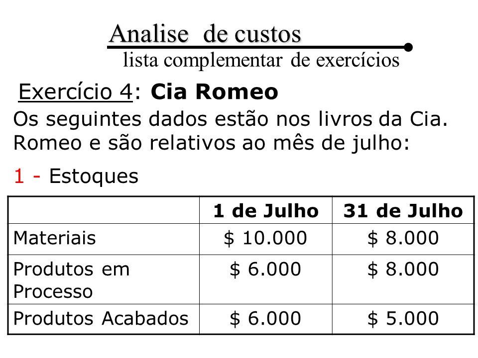 Exercício 4: Cia Romeo Os seguintes dados estão nos livros da Cia. Romeo e são relativos ao mês de julho: