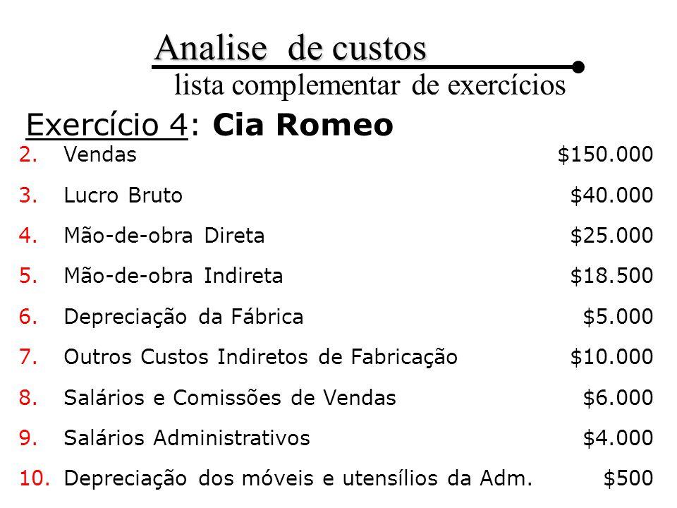 Exercício 4: Cia Romeo $150.000 $40.000 $25.000 $18.500 $5.000 $10.000