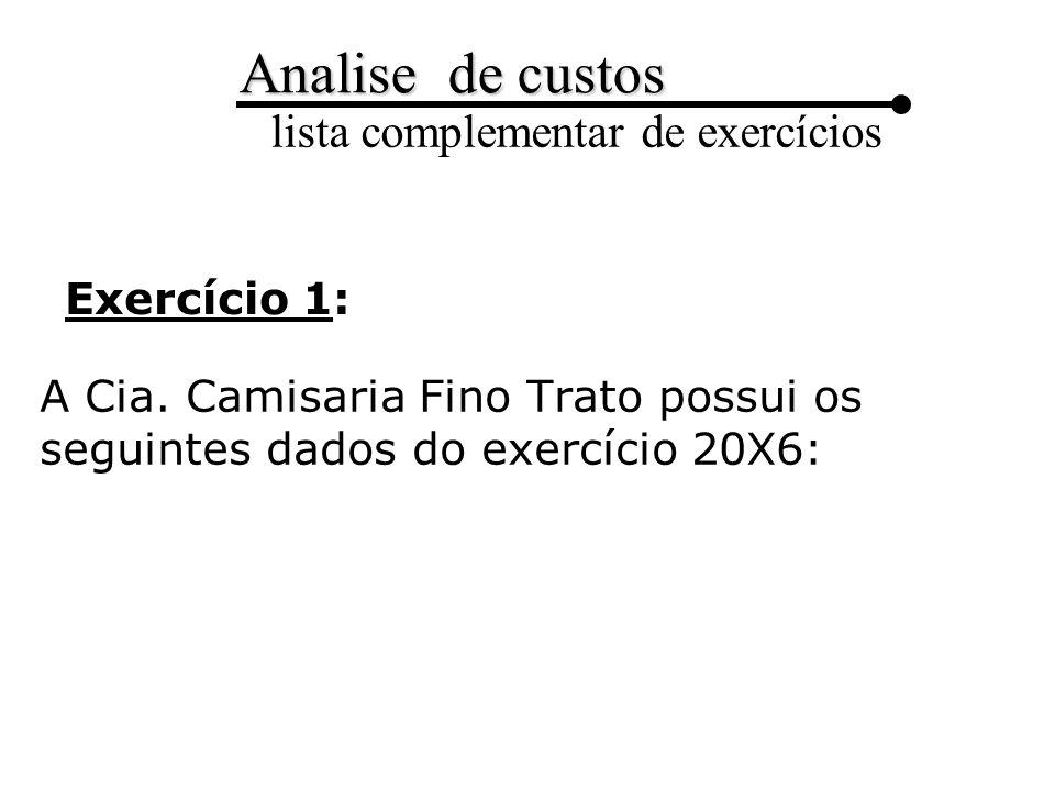 Exercício 1: A Cia. Camisaria Fino Trato possui os seguintes dados do exercício 20X6: