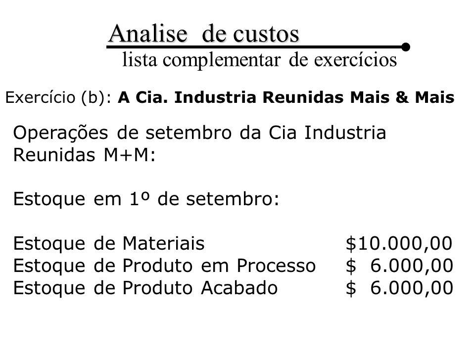 Operações de setembro da Cia Industria Reunidas M+M: